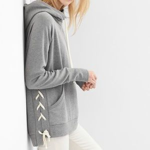 GAP Tops - GAP Lace Up Funnel Neck Hoodie Sweatshirt